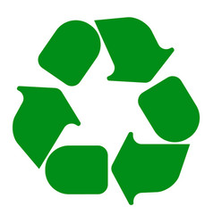 recycling symbol white on green vector image