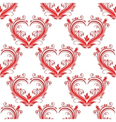 Seamless pattern ornate floral hearts vector image