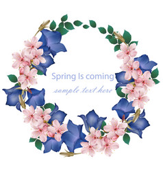 spring is coming card with cherry flowers wreath vector image vector image