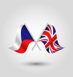 two crossed czech and british flags vector image