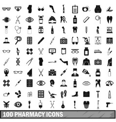 100 pharmacy icons set simple style vector