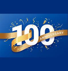 100th anniversary celebration banner template vector