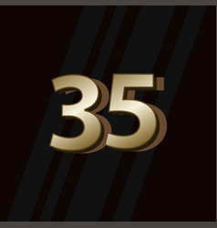 35 years anniversary gold elegant number template vector