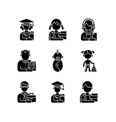 Age and gender differences black glyph icons set vector