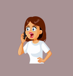 Angry woman talking on the phone vector