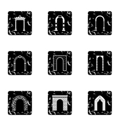 Arch icons set grunge style vector