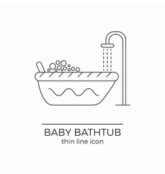 Baby bath line icon vector image