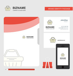 basket business logo file cover visiting card and vector image