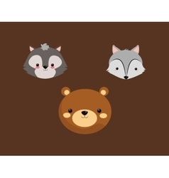 Bear with fox and skunk icons image vector