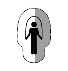 Black person jumping rope gym vector