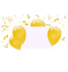 blank banner with gold balloons vector image