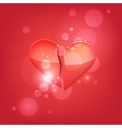 Broken heart isolated on red background vector