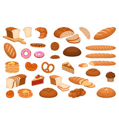 cartoon bread various sweet breads and slices vector image