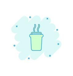 Cartoon coffee cup icon in comic style tea mug vector