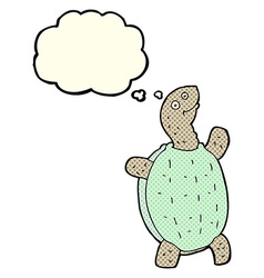 cartoon happy turtle with thought bubble vector image