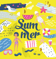 Childish summer beach vacation design with kids vector