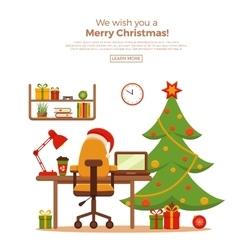 Christmas room interior vector image