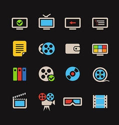 Cinema color web icons collection vector image
