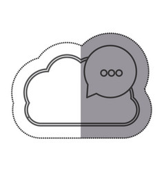 cloud data center with bubble icon vector image