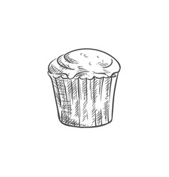 Cupcake pastry dough food isolated sketch vector