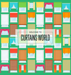 Curtains world background in flat design vector