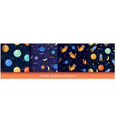 cute space seamless pattern set cartoon rocket vector image
