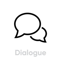 dialogue chat message icon editable line vector image