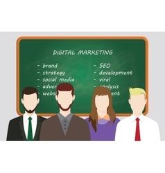 Digital marketing team line up work on front of vector