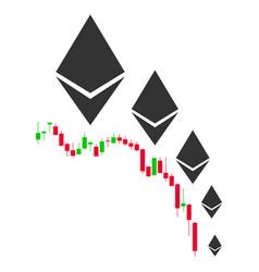 Ethereum deflation chart flat icon vector