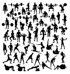 exercising with weightlift sport silhouettes vector image