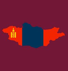 Flag map of mongolia vector