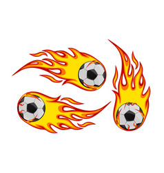 football socker on fire vector image