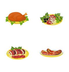 fried chicken vegetable salad shish kebab with vector image