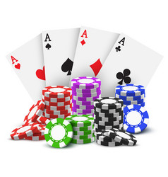 gambling cards and stack or heap poker chips vector image