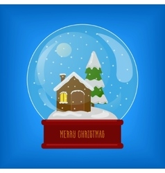 Glass sphere with snow and house vector