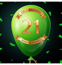 Green balloon with golden inscription twenty one vector