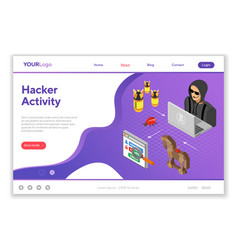 hacker activity concept isometric vector image