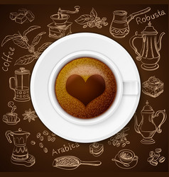 hand drawn vintage coffee set with cup coffee vector image
