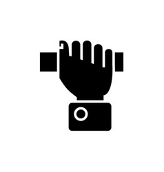 Hand pulling icon black sign vector