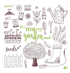 Hand sketch set of Garden doodle elements - seed vector