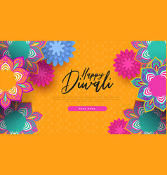 Happy diwali indian flowers web page template vector