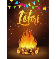 Happy lohri banner greeting card punjabi vector
