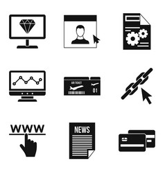 Information processing icons set simple style vector