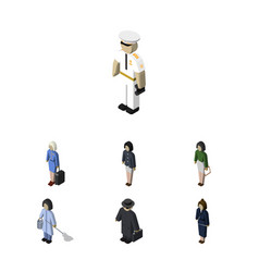 Isometric person set of pedagogue housemaid vector