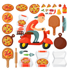 Italian cook pizza delivery boy pizzeria cartoon vector