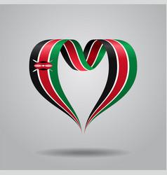 Kenyan flag heart-shaped ribbon vector