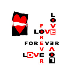 love slogan print t-shirt graphics vector image