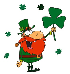 Male Leprechaun Holding Up A Clover vector image vector image