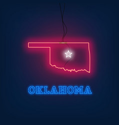 neon map state of oklahoma on dark background vector image