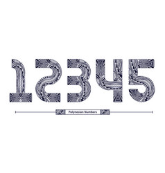 numbers polynesian style in a set 12345 vector image